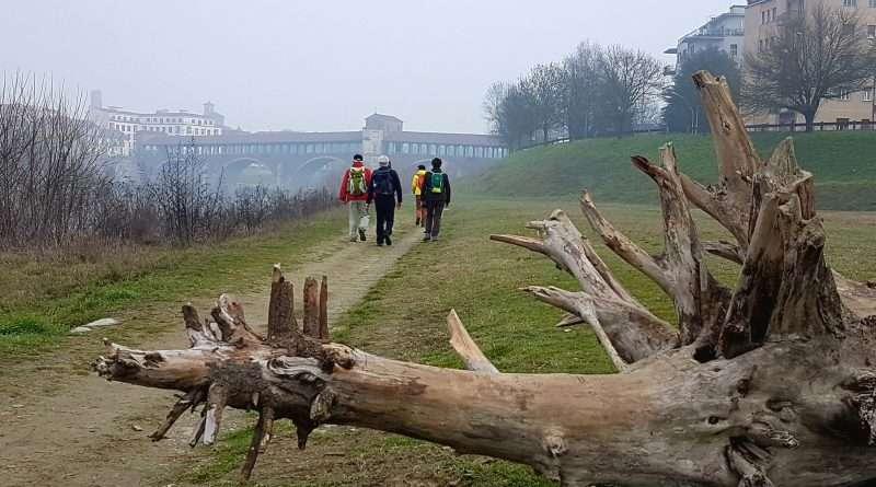 camminando lungo l'argine del Ticino verso Pavia